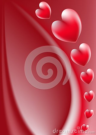 Red hearts floral vector background