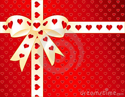 Red Hearts, Gold Satin Ribbon Present