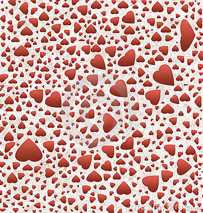 Red hearts on  grunge textured  paper