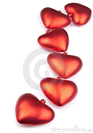 Red hearts isolated