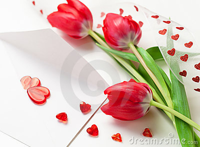 Red hearts ,letter and tulips