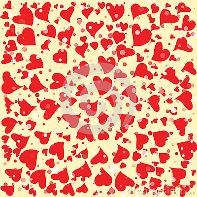 Red hearts round background template. Halftone circle vector illustration. Vector Illustration