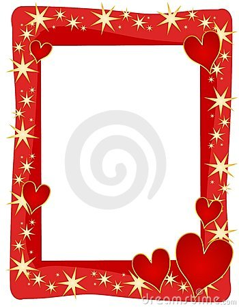 Red Hearts Stars Frame or Border