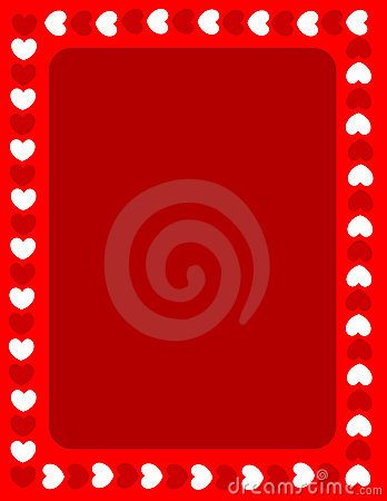 Red hearts valentines day border