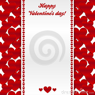 Red hearts valentines day greeting card
