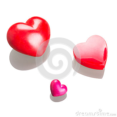 Red hearts for Valentines isolated