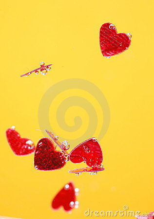 Free Red Hearts & Yellow Background Royalty Free Stock Image - 3346816