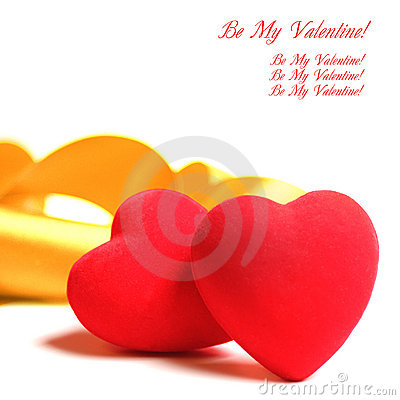 Red Hearts Yellow Ribbon Royalty Free Stock Photography - Image: 17612937