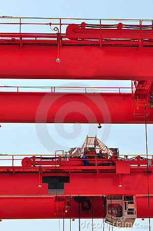 Red heavy load crane