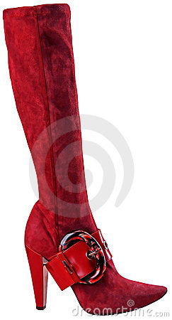 Free Red High Heel Fashion Boot Isolated On White Royalty Free Stock Photo - 9765045