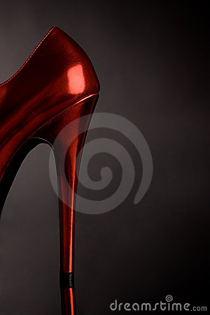 Red high heel feminine shoe