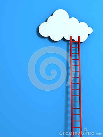 Red high ladder leading to a cloud on blue sky