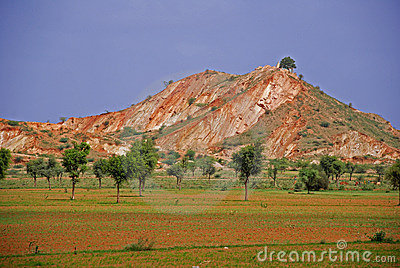 Red hills at bank of ground