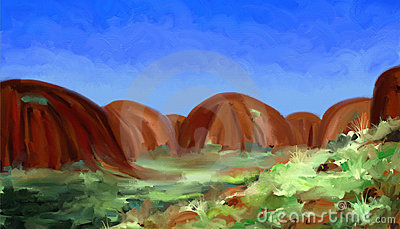 Red Hills - Digital Painting