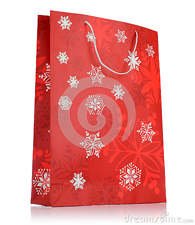 Red holiday bag on white background
