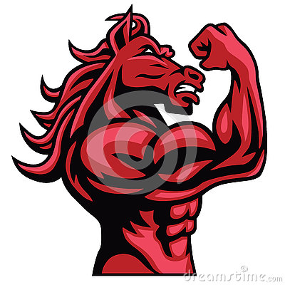 Free Red Horse Bodybuilder Posing His Muscular Body  Vector Mascot Stock Images - 76706674