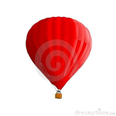 Red hot air ballon isolated