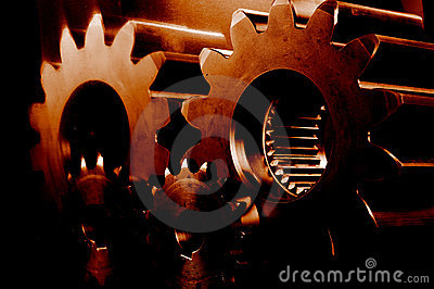 Red hot burning gears