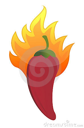 Red hot chili pepper on fire illustration