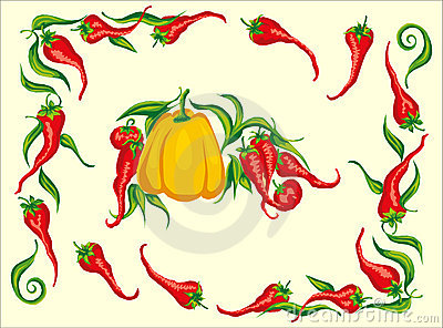 Red hot chili pepper frame corner