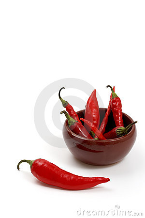 Red hot chili peppers in ceramic bowl