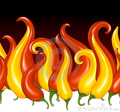 Red Hot chilli pepper in the shape of fire