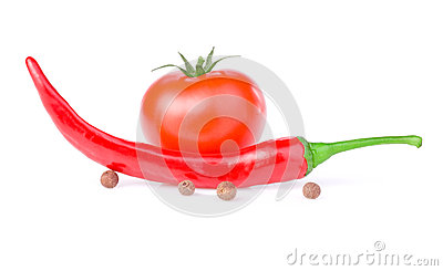 Red Hot Pepper, one Juicy tomato and allspice