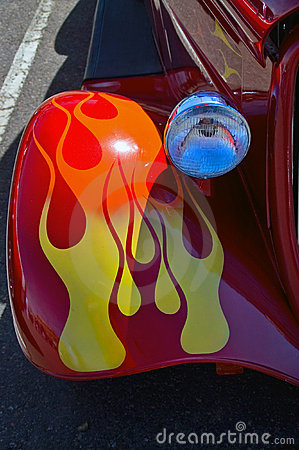Red Hot Rod Fender with Flames