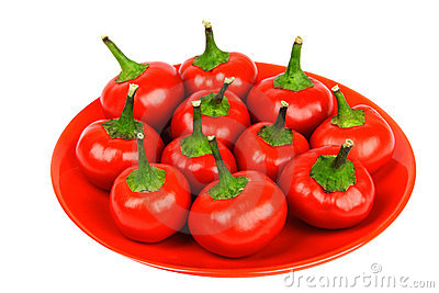 Red hot spicy peppers