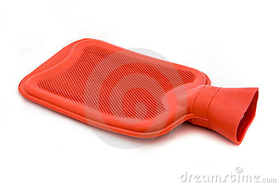 Red hot water bottle over white