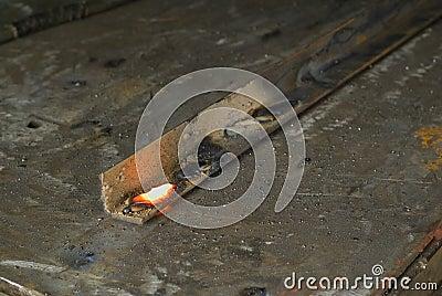 Red hot welding metalwork