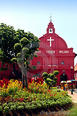 Red house Christ Church in Malacca Editorial Photography