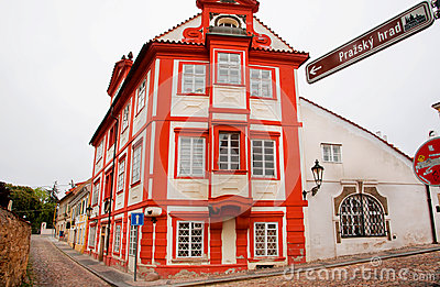Red house on the cobbled streets Editorial Stock Image