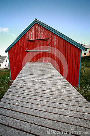 Red house with footbridge