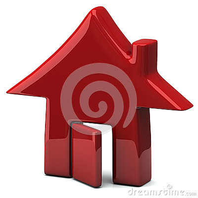 Red house icon, 3d