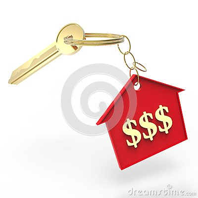 Red House Keychain with Dollar Sign