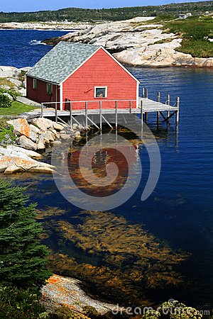 Red house on the peggy cove