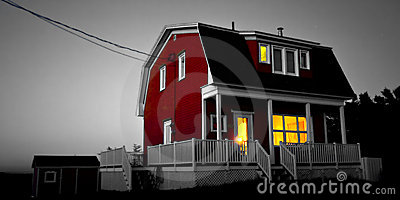 Red house, yellow light
