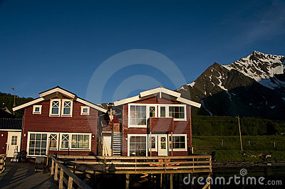 Red houses on fjord shoreline