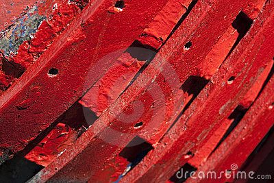 Red hull of boat