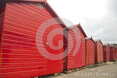 Red huts, grey sky