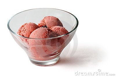 Red Ice-cream balls in transparent glass