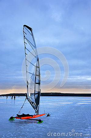 Red ice sailing boat