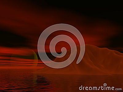 Red Iceburg Sunset Stock Photo
