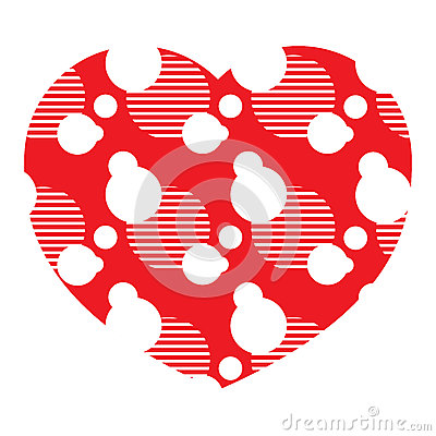 Red icon heart shape Vector Illustration