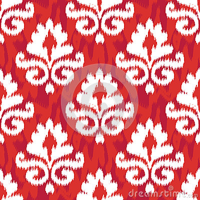 Red Ikat Damask