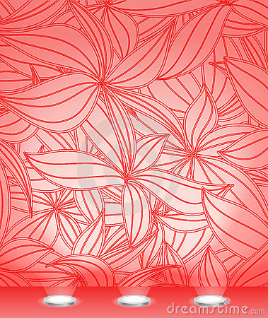 Red illuminated floral wall