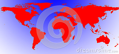 Red Illustrated world map