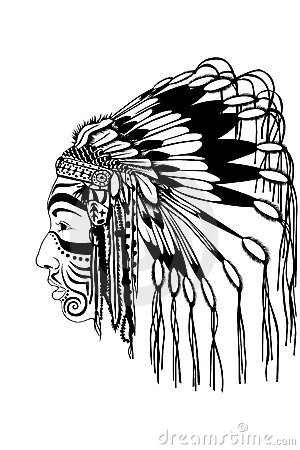 Red Indian Chief Wearing Traditional Headdress Royalty