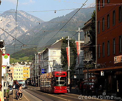 Red Innsbruck tram Editorial Photo